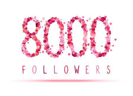 followers: 8000 (eight thousand) followers. Pink rose petals Illustration
