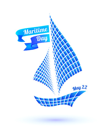 mooring: National Maritime Day card with ship symbol. Vector