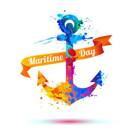 National Maritime Day card with anchor. Splash paint