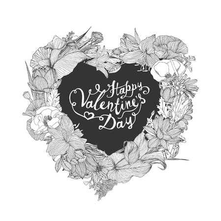 writting: Happy Valentines Day congratulation card with heart of flowers