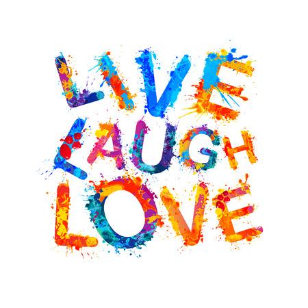 Live. Laugh. Love. Vector watercolor splash paint  イラスト・ベクター素材