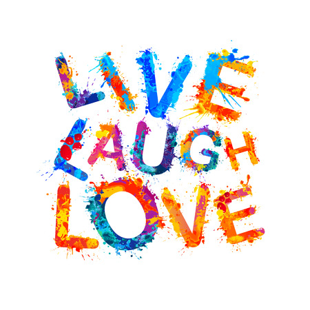 Live. Laugh. Love. Vector watercolor splash paint 版權商用圖片 - 68304887