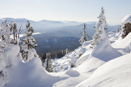 ural: Mountain range Zyuratkul, winter landscape. Snow covered spruces and snowdrifts Stock Photo