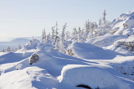 snowdrifts: Mountain range Zyuratkul, winter landscape. Forest and snowdrifts