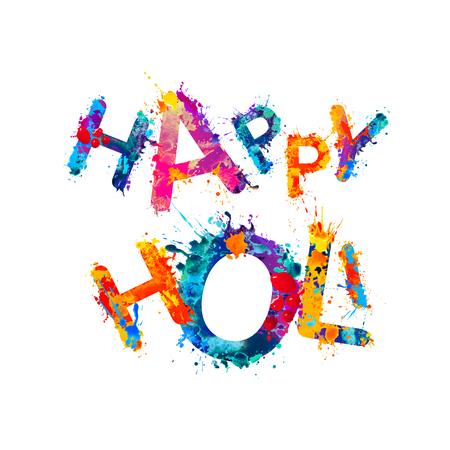 pichkari: Happy Holi! Rainbow splash paint vector inscription