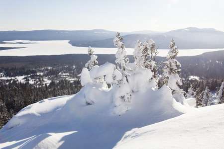 ural: View of lake from mountain range Zyuratkul, winter landscape. Snow covered fir trees Stock Photo