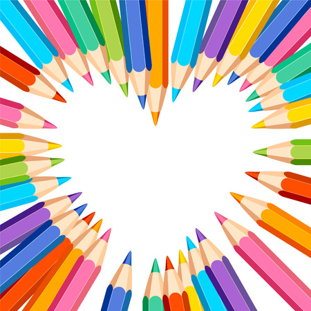 wite: Heart frame vector template of colored pencils on wite background