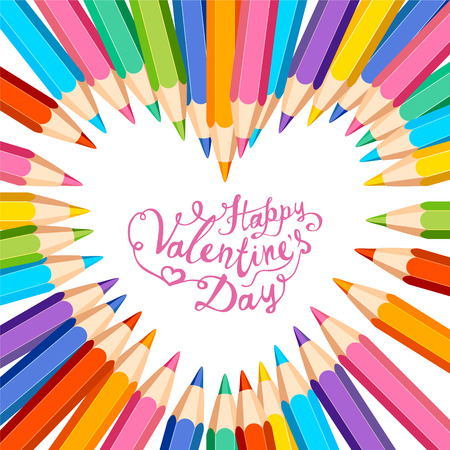 wite: Happy Valentines Day card with heart frame of colored pencils on wite background