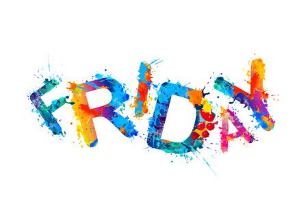 Friday - happy end of the week. Vector splash paint 向量圖像