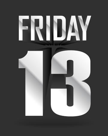 Friday 13. Vector inscription on dark background Illustration