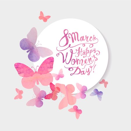 8 march. Happy Womans Day! Vector congratulation card with pink watercolor butterflies Illustration