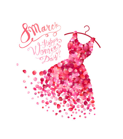 Happy womans day! 8 March holiday. Dress of pink rose petals