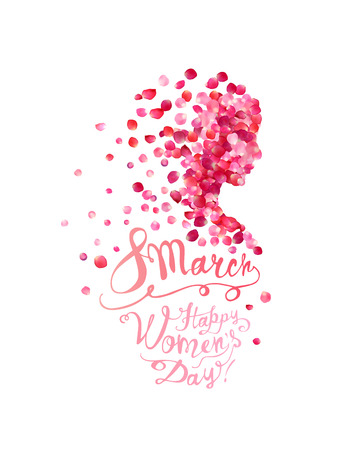 8 march. Happy Womens Day! Silhouette of a woman of pink rose petals Illustration