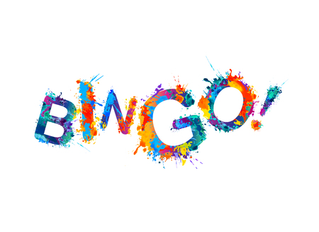 Bingo! Vector watercolor rainbow splash paint inscription Vectores