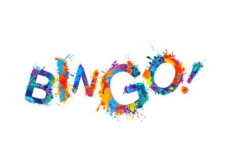 ¡Bingo! Vector de la acuarela del arco iris inscripción salpicaduras de pintura