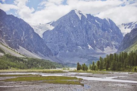 Aktru river valley, Altai Mountains landscape. Summer Stock Photo