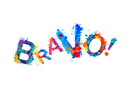 Bravo! Watercolor splash paint vector word on white background