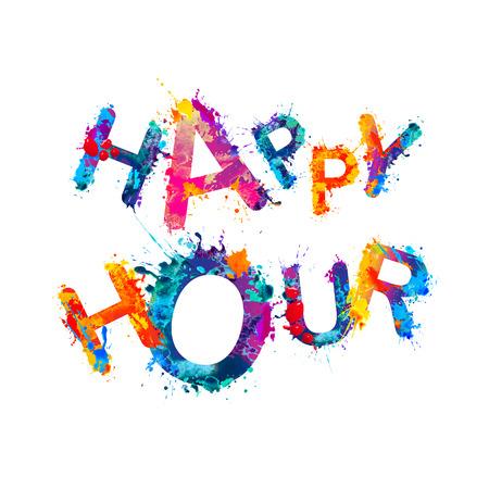 Happy hour. Splash watercolor paint vector words