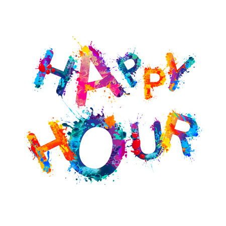 Happy hour. Splash watercolor paint vector words