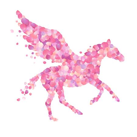 Pegasus vector romantic symbol. Pink rose petals