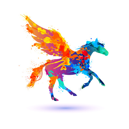 Pegasus vector symbol. Rainbow watercolor splash paint Illustration