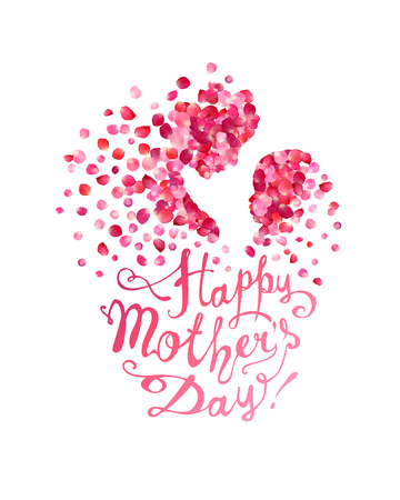 Happy Mother's Day! Silhouette of a mother and her child of pink rose petals Illustration