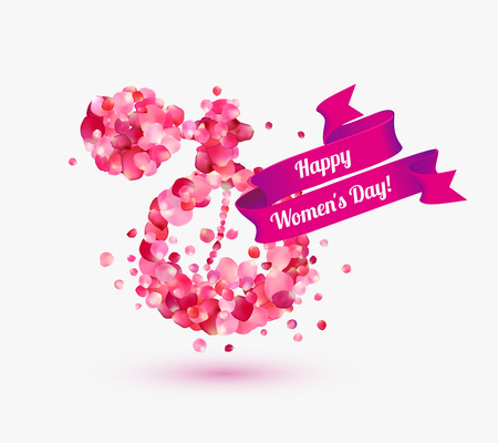 Happy womans day! 8 March holiday. Perfume bottle of rose petals.