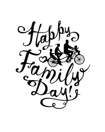 family: Happy Family day! Tandem Bike with two childrens and parents