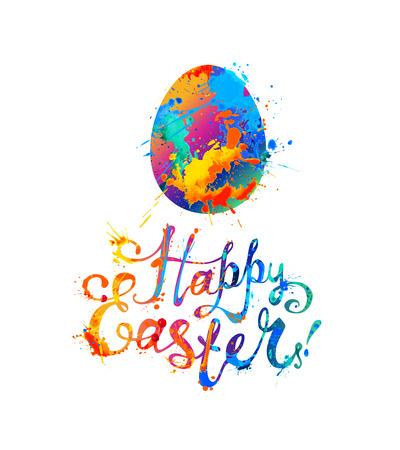 Happy Easter Greeting Card. Rainbow splash paint hand written inscription. Easter egg