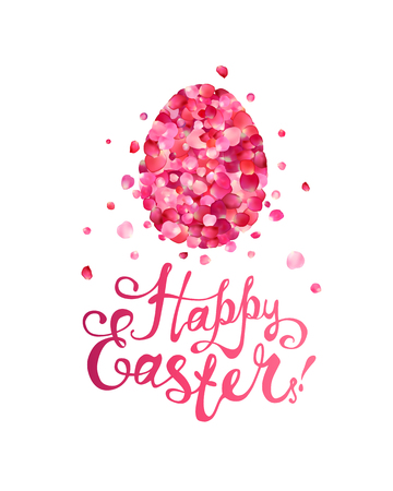 Happy Easter Greeting Card. Easter egg of pink rose petals and hand written inscription.