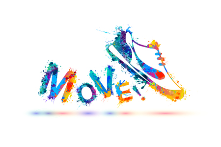Movimiento! Signo del vector. Calzado deportivo - zapatillas. Pintura splash Foto de archivo - 72917570