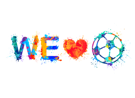 Fan slogan: we love football (Soccer Ball) Illustration