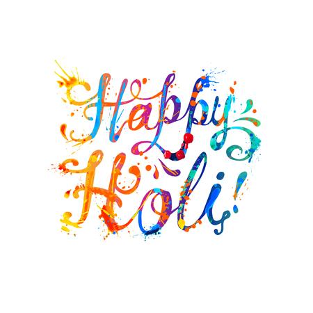 pichkari: Happy Holi! Rainbow splash paint hand written vector inscription Illustration