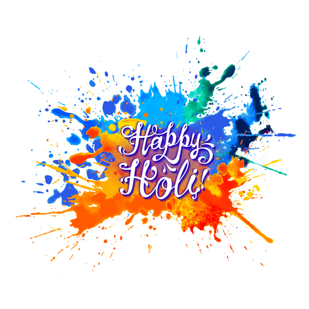 Happy Holi! Hand written inscription on rainbow splash paint.