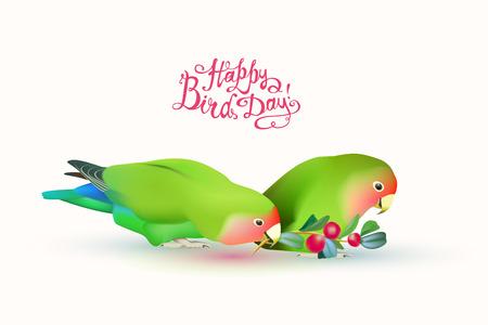 Gelukkige vogel dag! Fischer's Lovebirds (paar papegaaien) en handgeschreven inschrijvingen