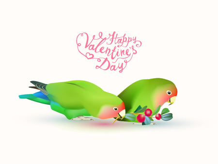 lovebird: Happy valentines day! Fischers lovebirds (pair of parrots) and hand written inscriptions