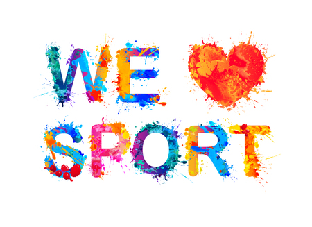 We love sport. Vector watercolor splash paint inscription Ilustracja