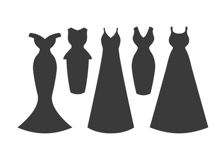 Set of five dress silhouettes. Vector flat illustration Illustration
