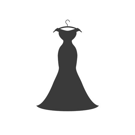 Black evening dress. Vector flat icon on white background Illustration