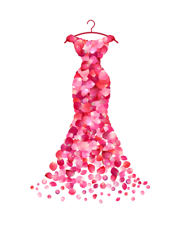 Evening dress of pink rose petals. Vector Illustration