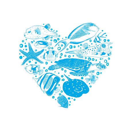Vector heart of sea and ocean inhabitants.