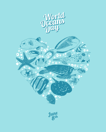 World Oceans Day. June 8th. Vector heart of sea and ocean inhabitants.