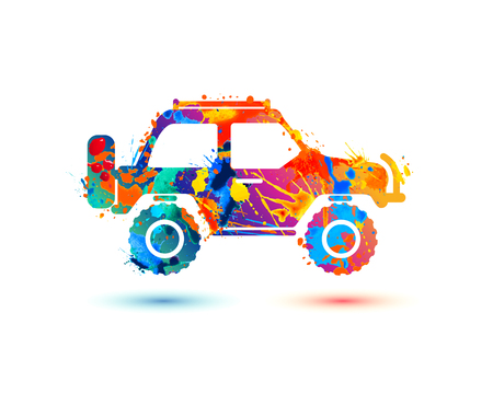 Jeep travel splash paint icon on white background
