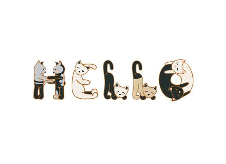 Hola. Vector de inscripción de letras lindas del gato