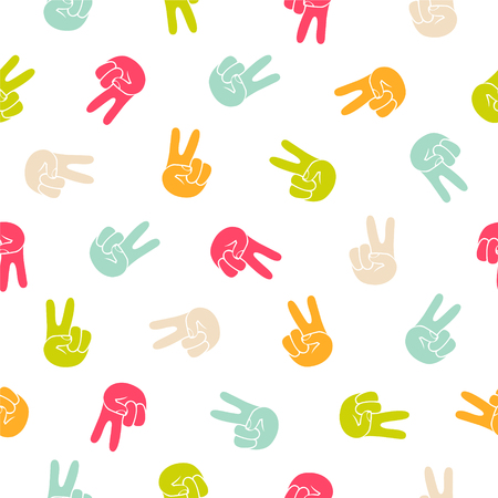 Seamless vector pattern - peace hand symbol