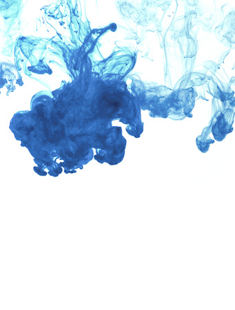 cian: White background with blue abstract ink in water Stock Photo