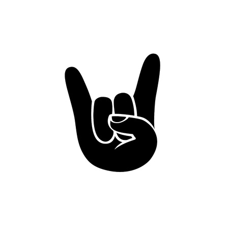 Rock. Hand sign of the horns. Black on white icon