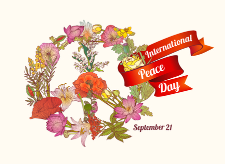 International Peace Day. September 21. Vector card with floral symbol