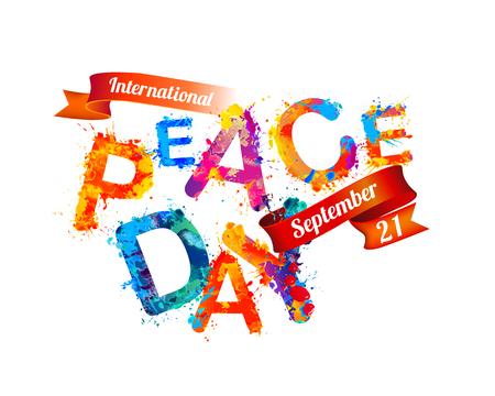 International Peace Day. September 21. Vector card of watercolor splash paint Illustration