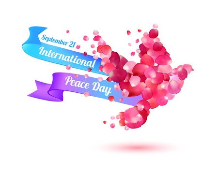 International Peace Day. September 21. Vector card vith pigeon of pink rose petals